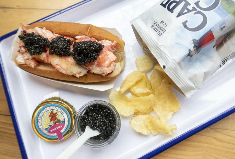Luke's Lobster roll with Petrossian Caviar