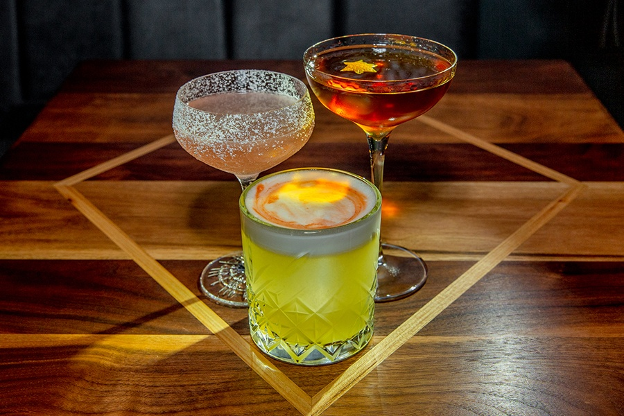 The Hebrew Hammer, Latke Sour, and the Manishevitz Martinez from the pop-up Maccabee Bar at Better Sorts Social Club