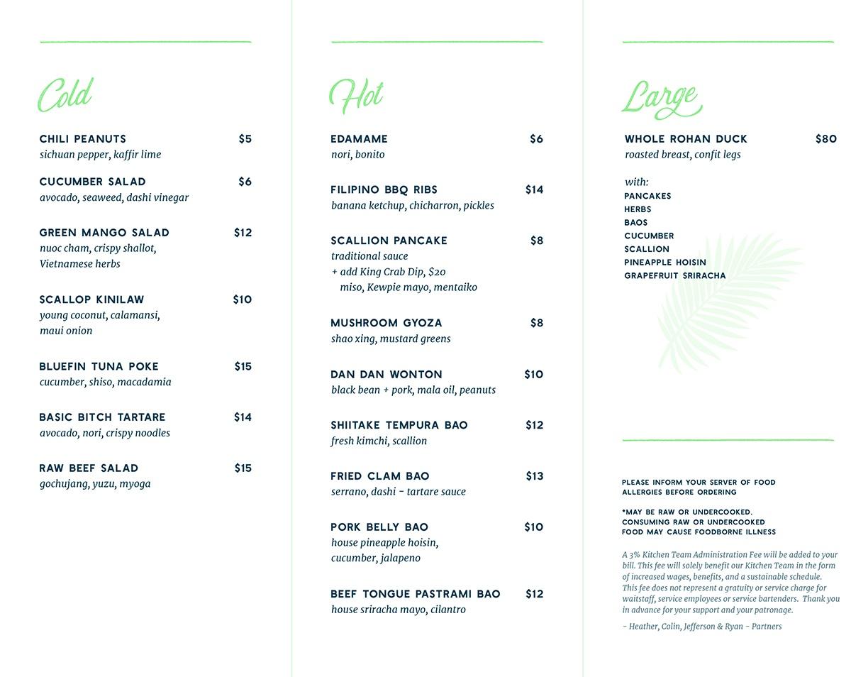Shore Leave food menu