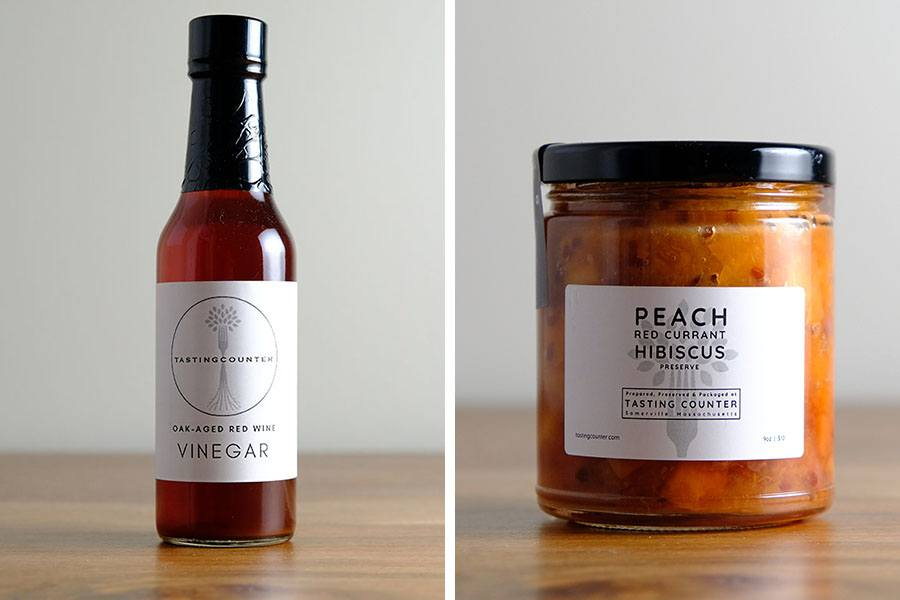 vinegar and peach preserves bottled to go from Tasting Counter