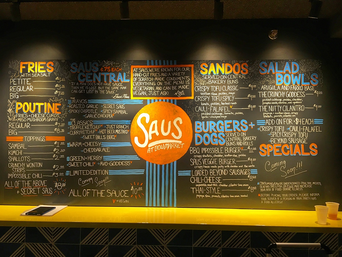Saus Bow Market menu