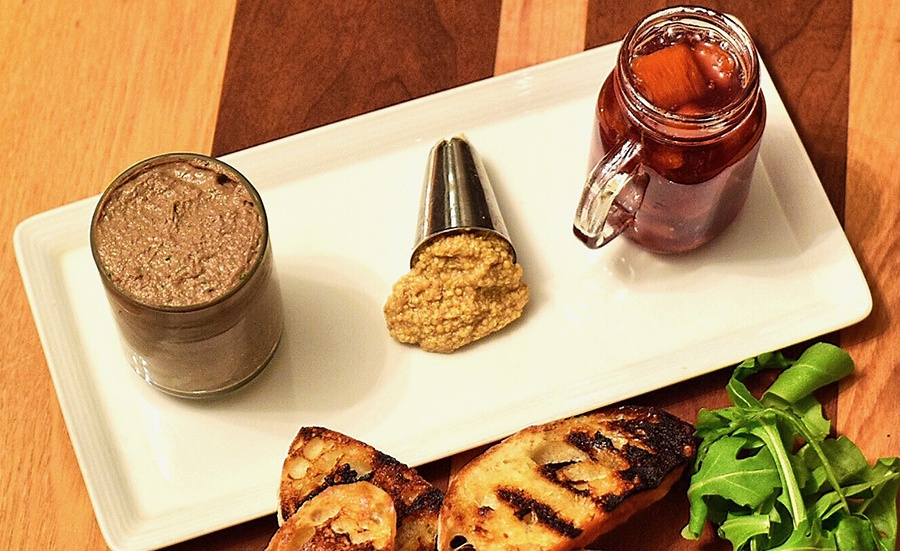 Chicken liver and beef mousse at Simcha