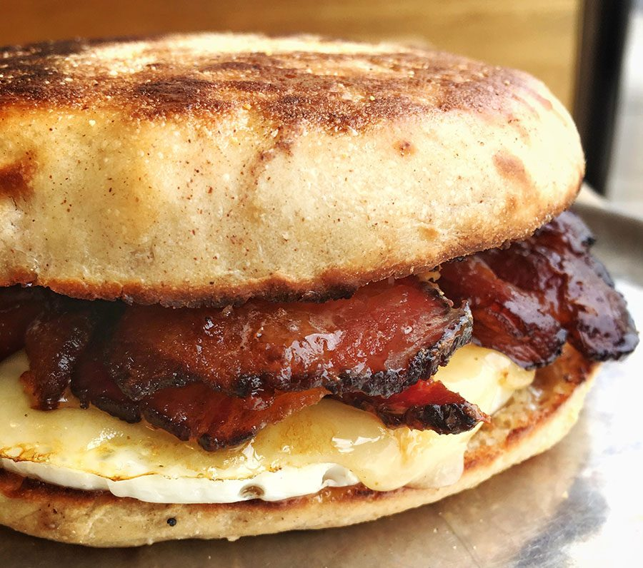 Miss Maple, an egg-and-cheddar English muffin sandwich with maple butter, will be on the menu at Vinal Bakery
