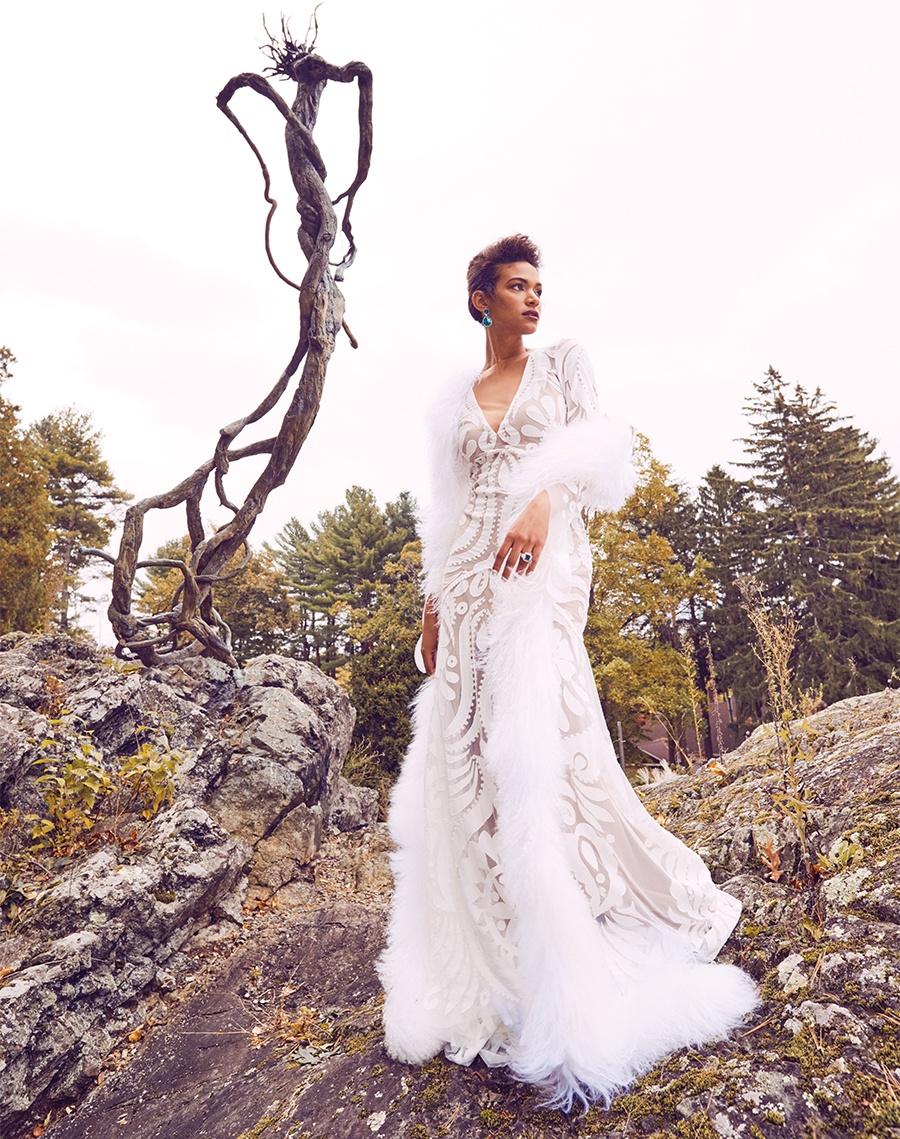"c894fe13bbadd Rue de Seine ""Layla"" mesh gown with silk-crêpe appliqué, $3,375, Ceremony; Vera  Wang Mongolian-fur boa, $1,500, Musette Bridal; 14-karat-white-gold  earrings ..."