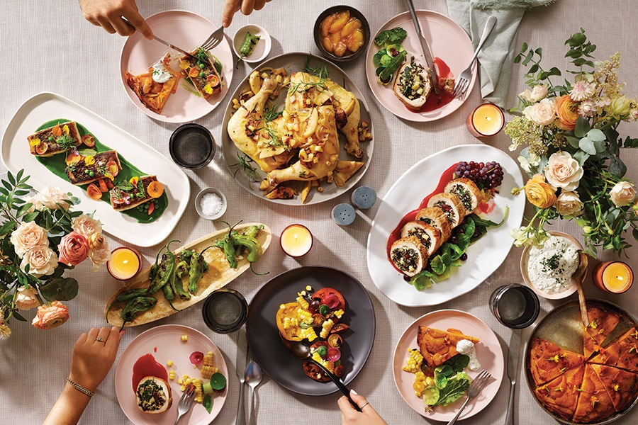 family-style dinner spread
