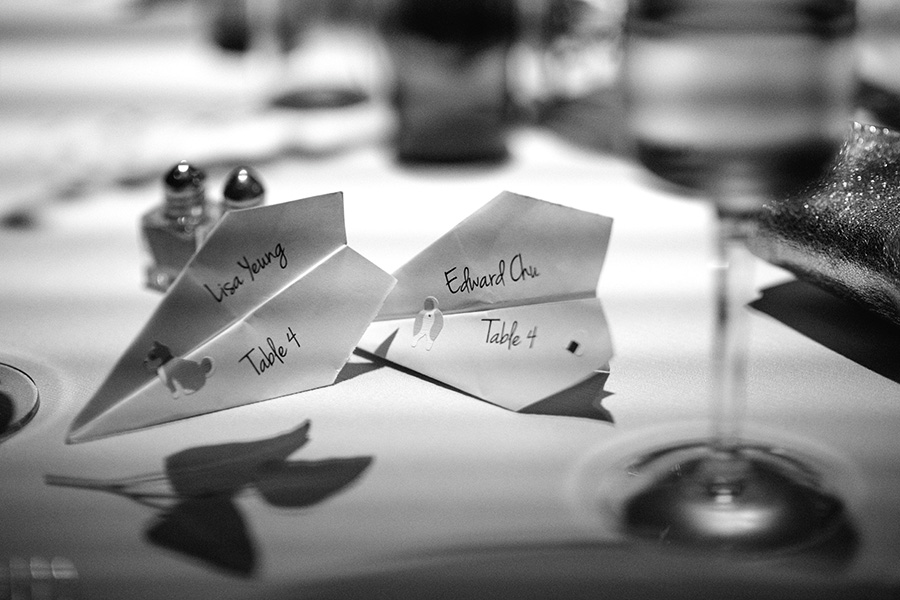 escort cards at ICA wedding