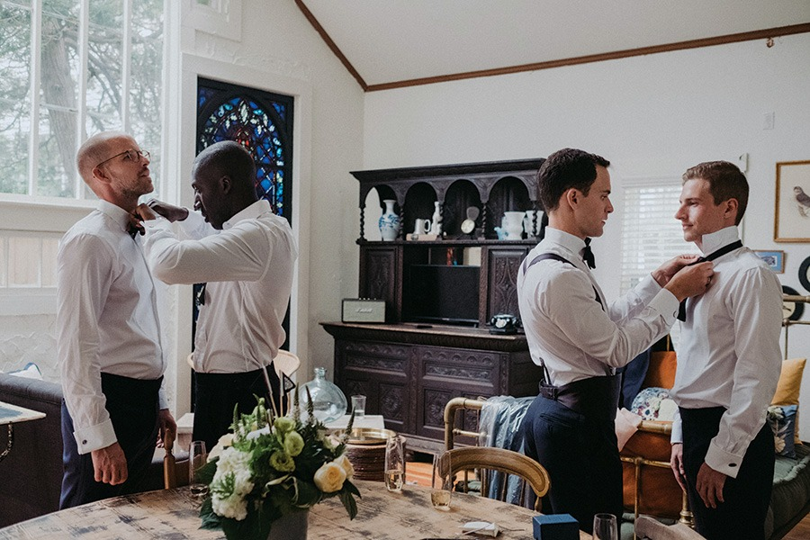 bridal party gets ready at Eben House in Provincetown