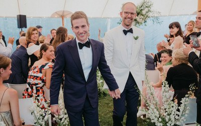 couple at provincetown wedding
