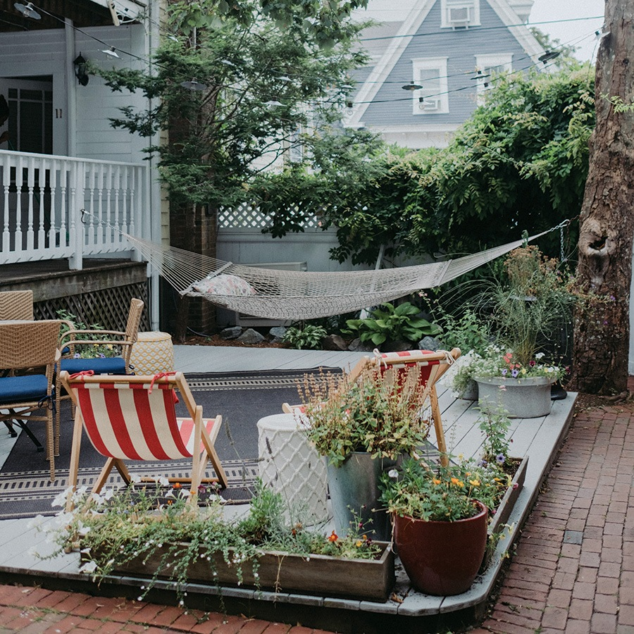 backyard of Eben House in Provincetown