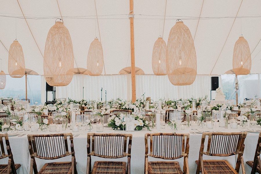 reception tent at Provincetown wedding