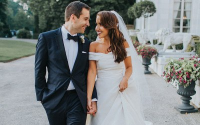 couple at Rosecliff wedding