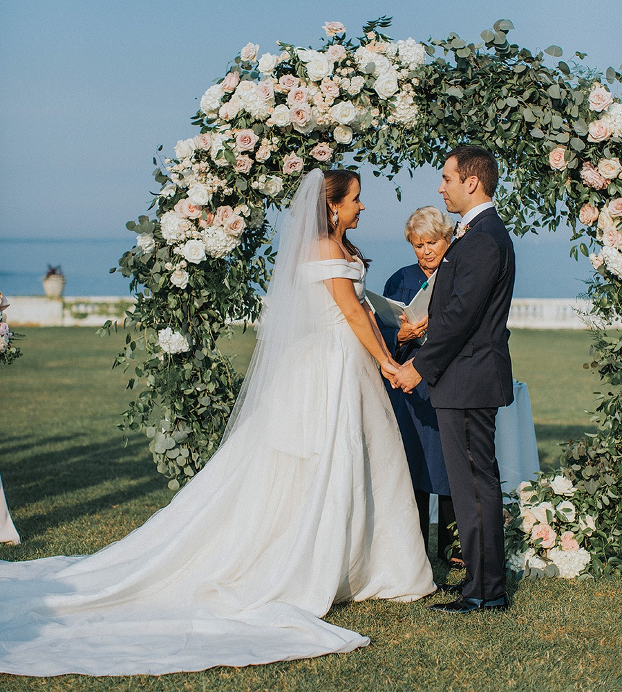 Floral arch at Rosecliff wedding