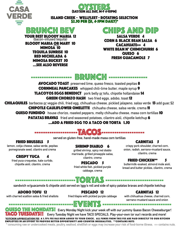 Casa Verde drinks menu