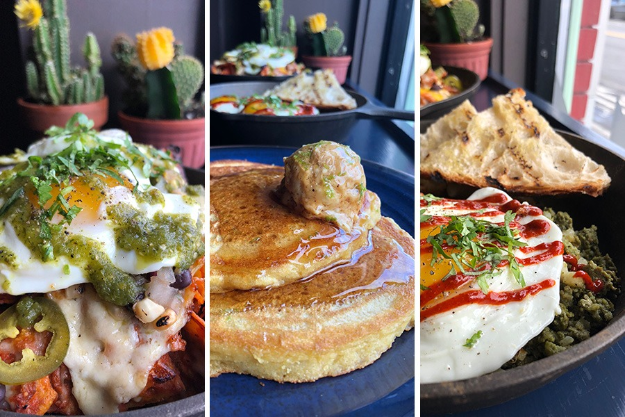 (L to R) Chilaquiles, Cornmeal Pancakes with whipped chili-lime butter, and Green Chorizo Hash from the Sunday brunch menu at Casa Verde