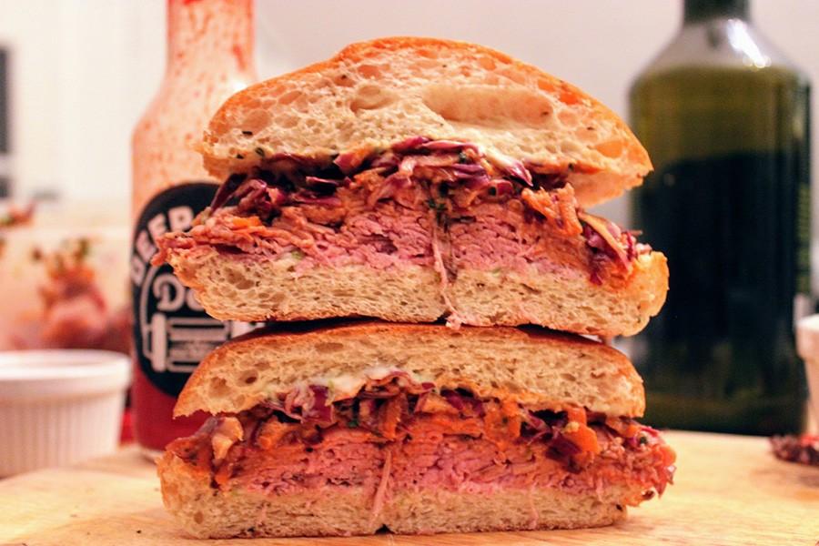 """Deep Cuts Deli """"Big Trouble in Little Boston"""" - Roast Beef, Asian Slaw, Kewpie Mayo, Pepper Brioche Bun"""