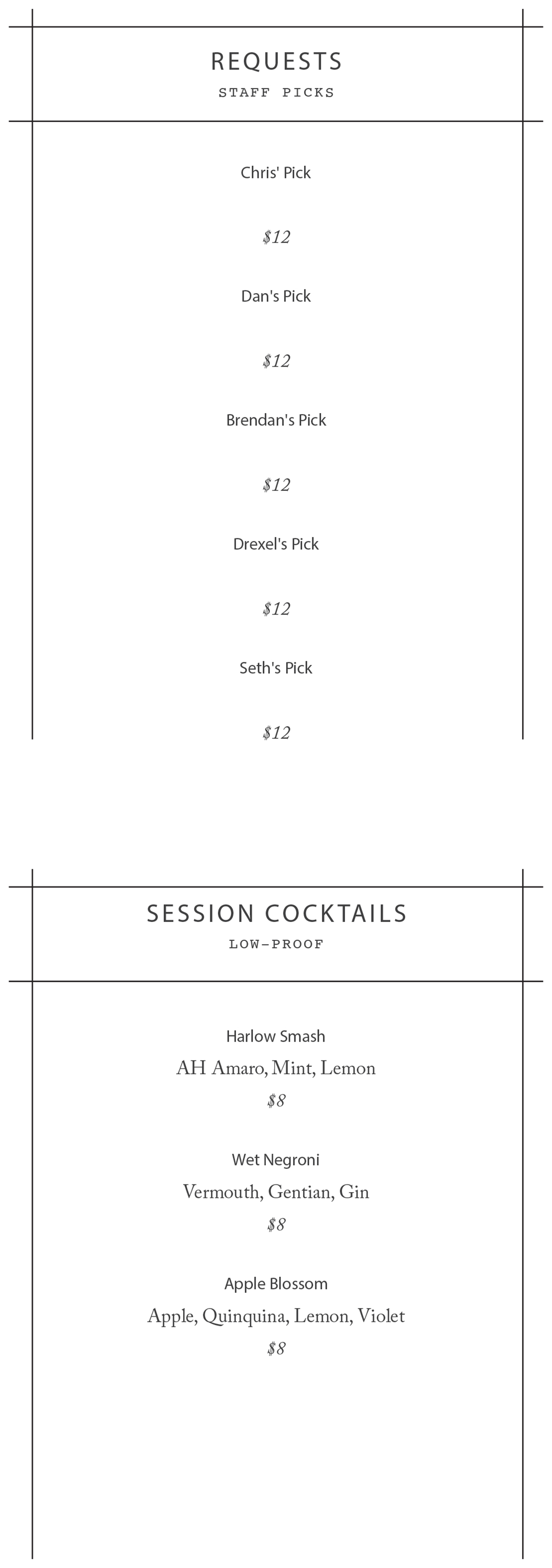 Longfellow Bar drink menu-3