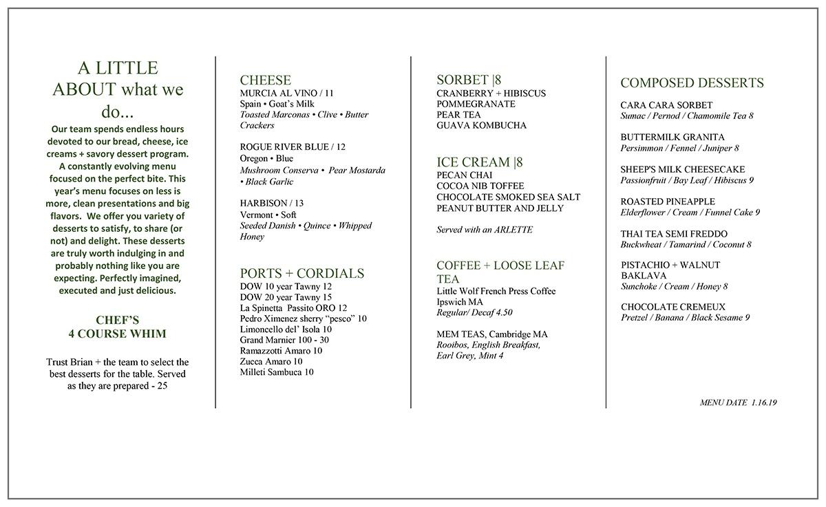 new Oak + Rowan dessert menu