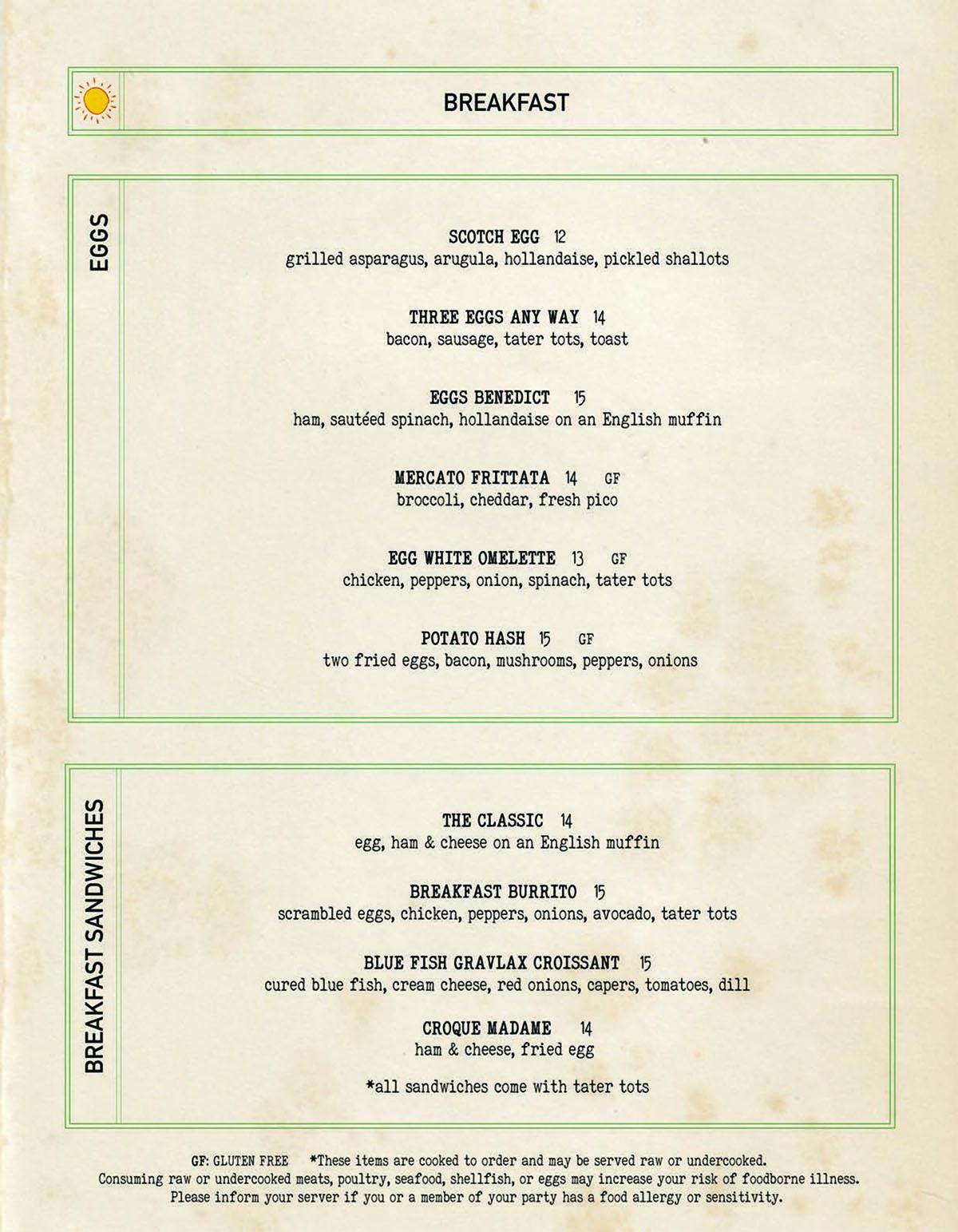 Bar Mercato breakfast menu 1