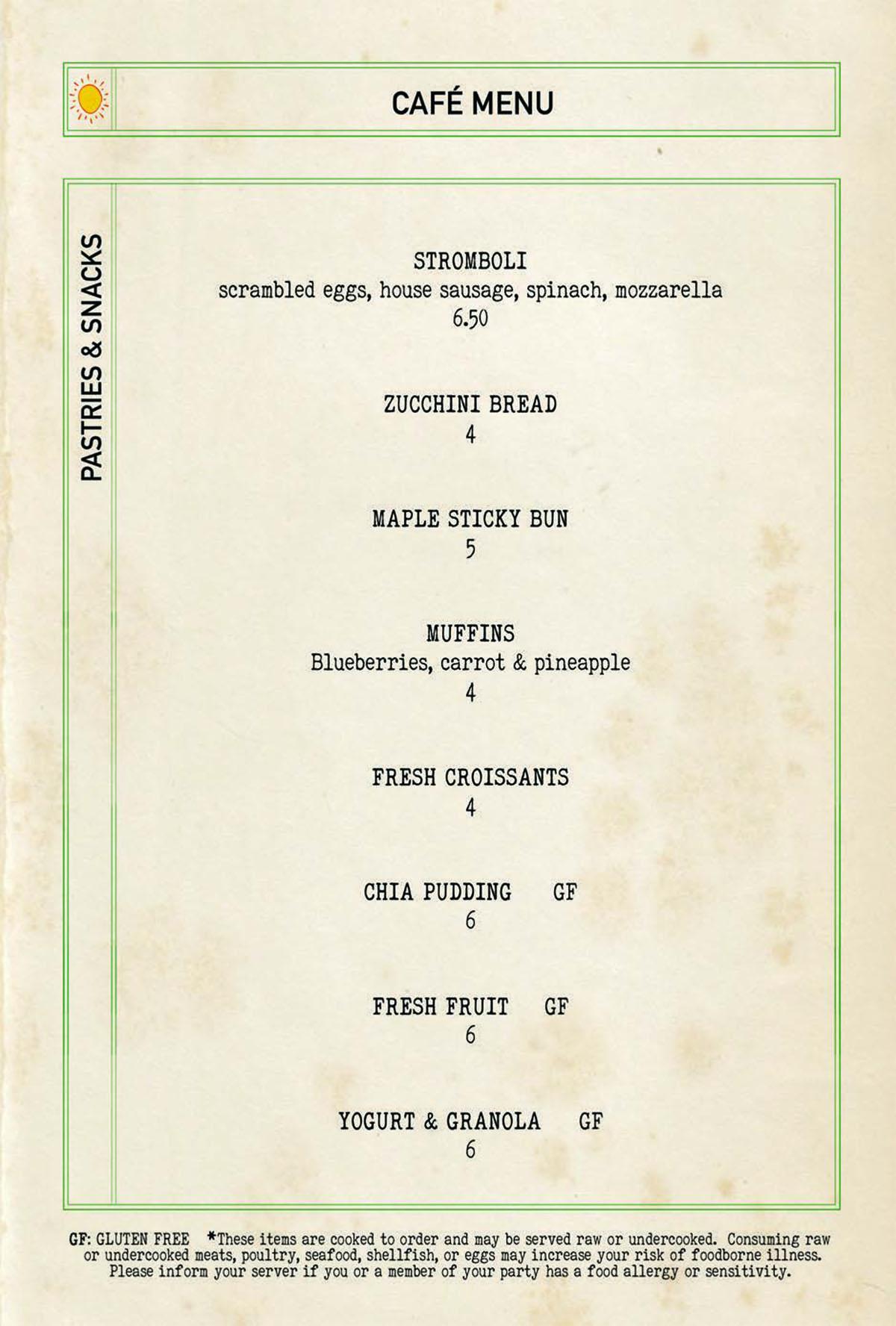 Bar Mercato cafe menu 1