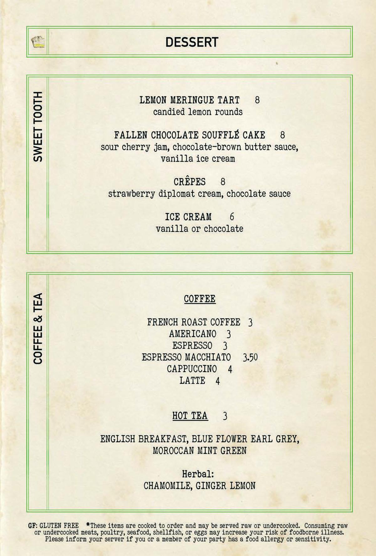 Bar Mercato dessert menu 1