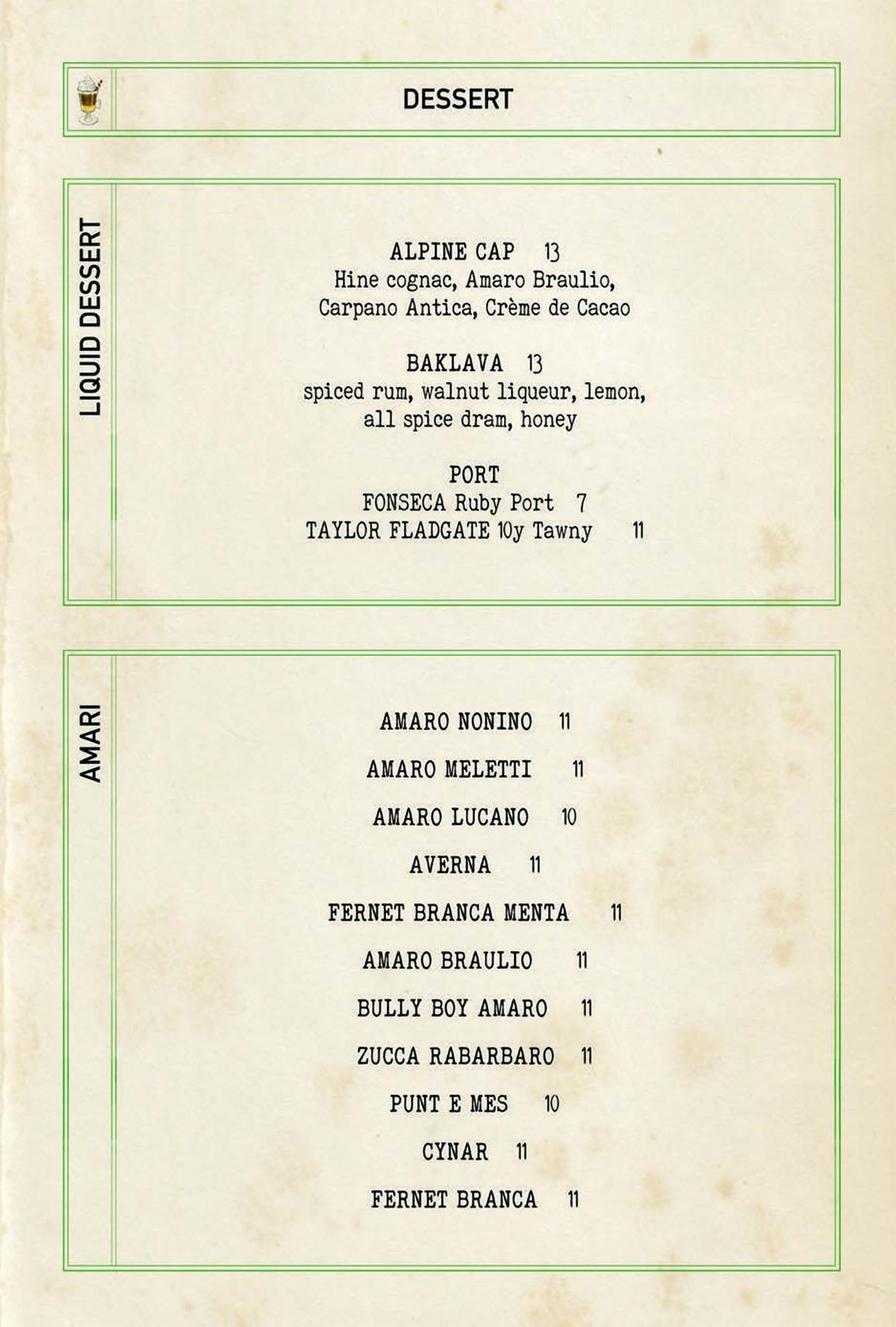 Bar Mercato dessert menu 2
