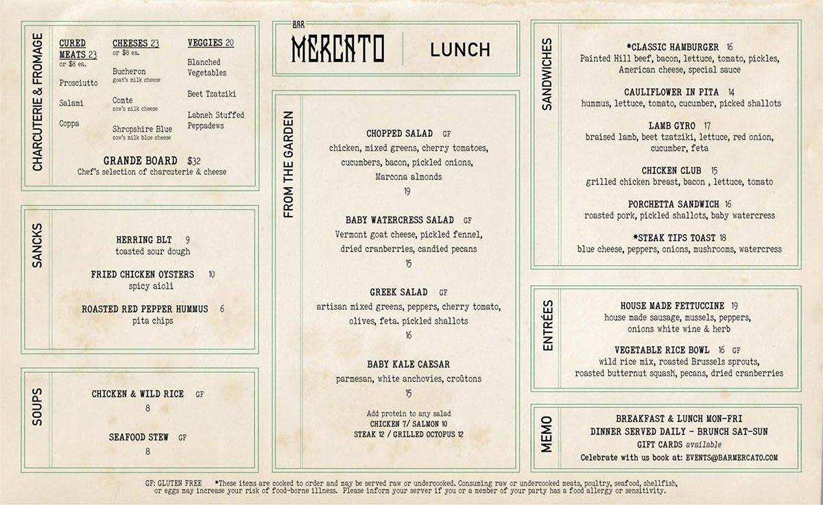 Bar Mercato lunch menu