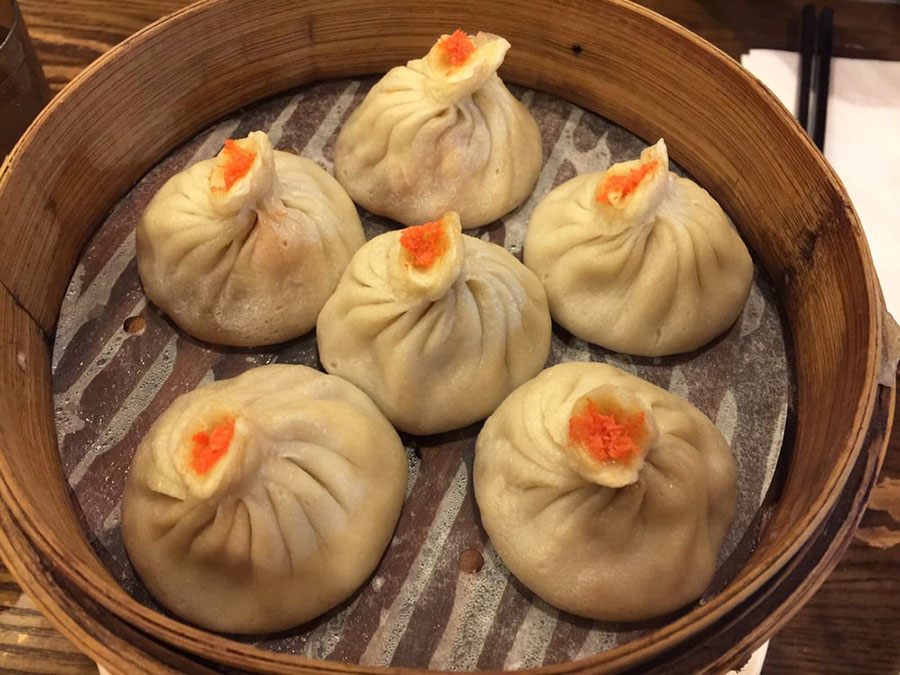 Mini juicy buns with pork and crabmeat at Dumpling Cafe