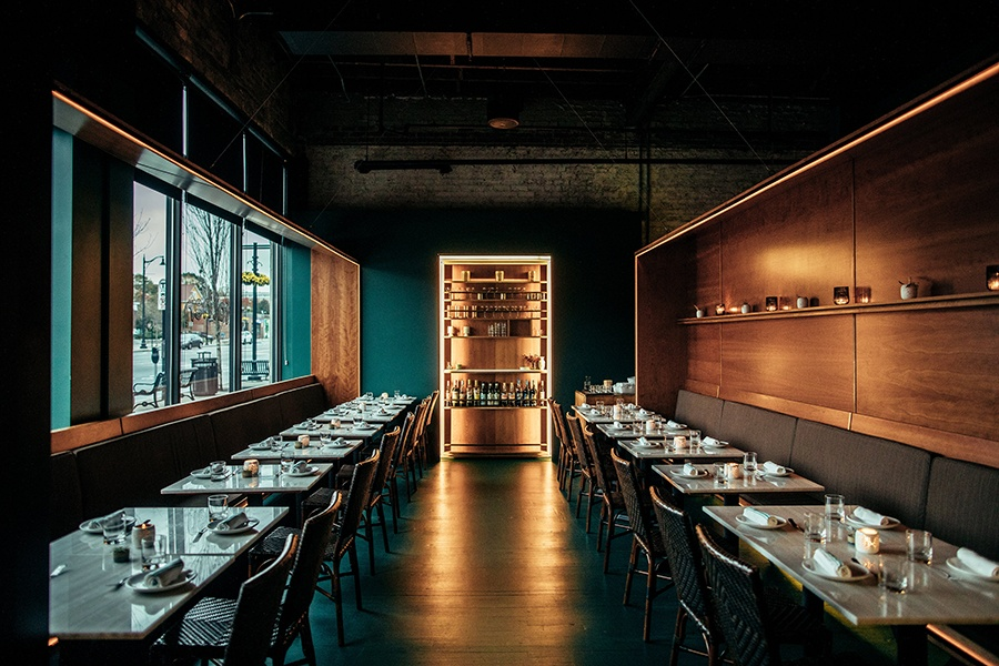 The sleek, super-cool dining room at Fat Hen