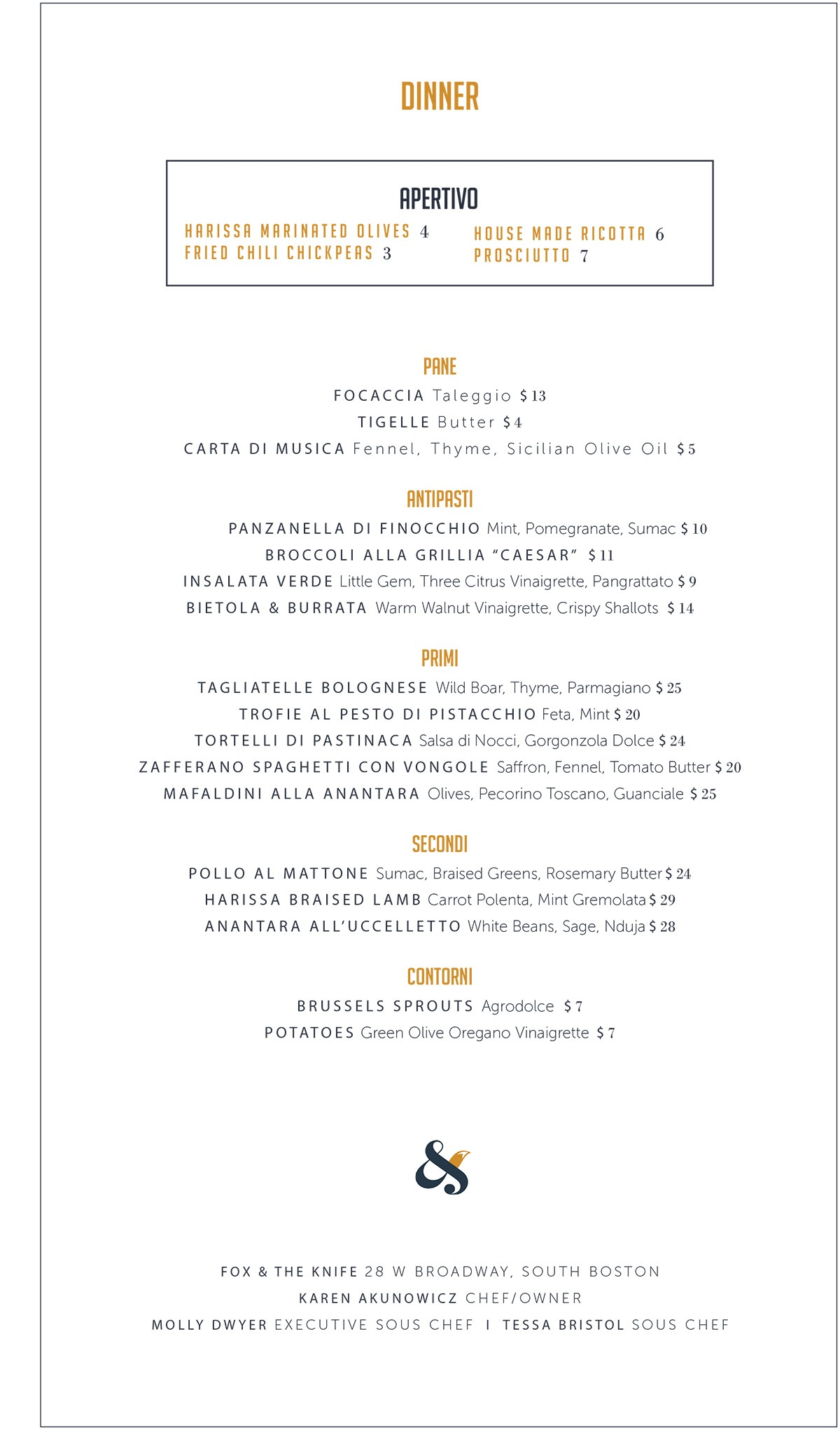 Fox & the Knife dinner menu
