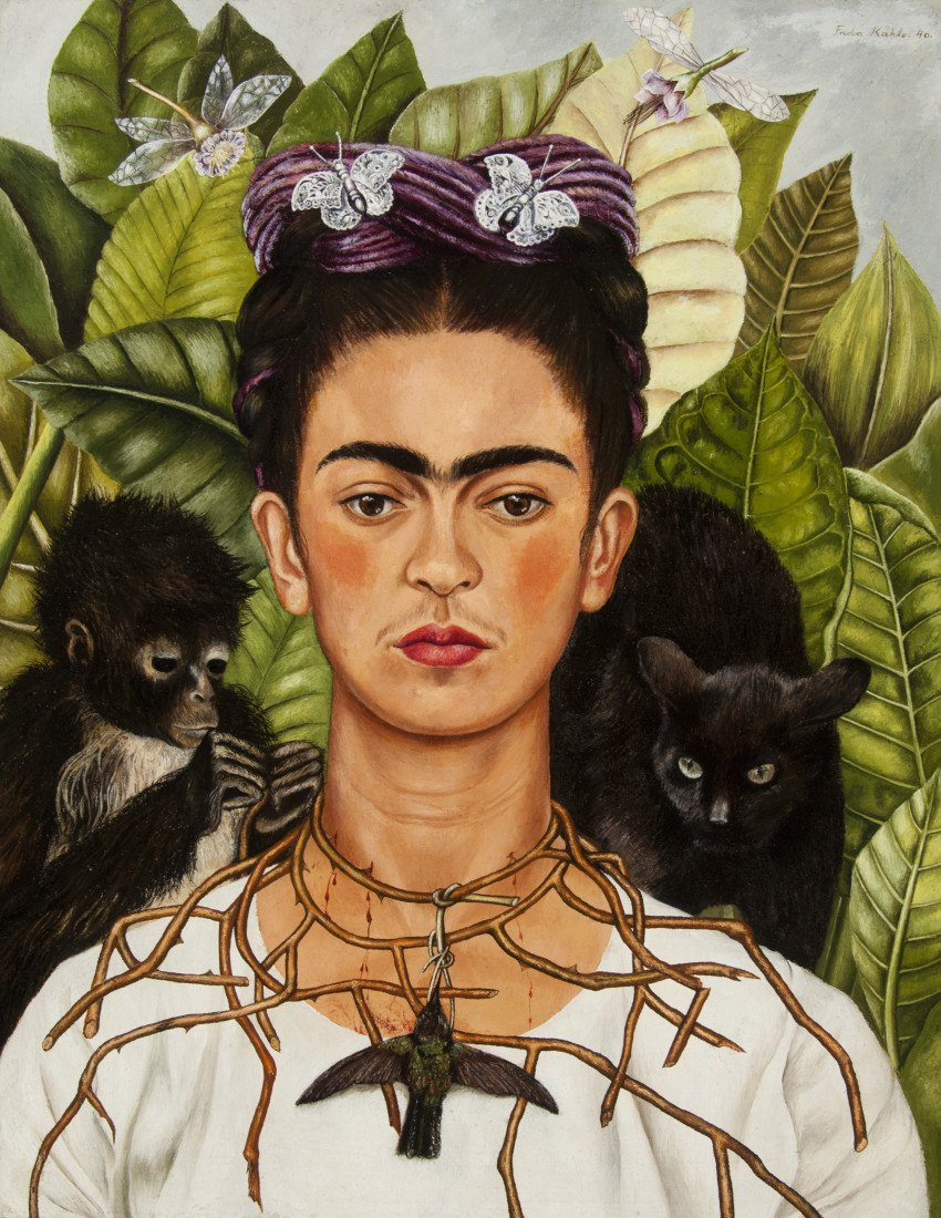 Frida Kahlo's Self-portrait with Hummingbird and Thorn