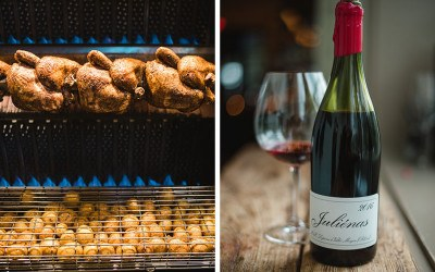 Shy Bird rotisserie chickens and potatoes / bottle of wine