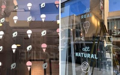 The windows at FoMu's new Fenway neighborhood ice cream shop
