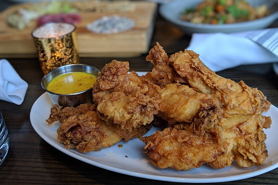 Country fried chicken strips from the new bar menu at Ledger