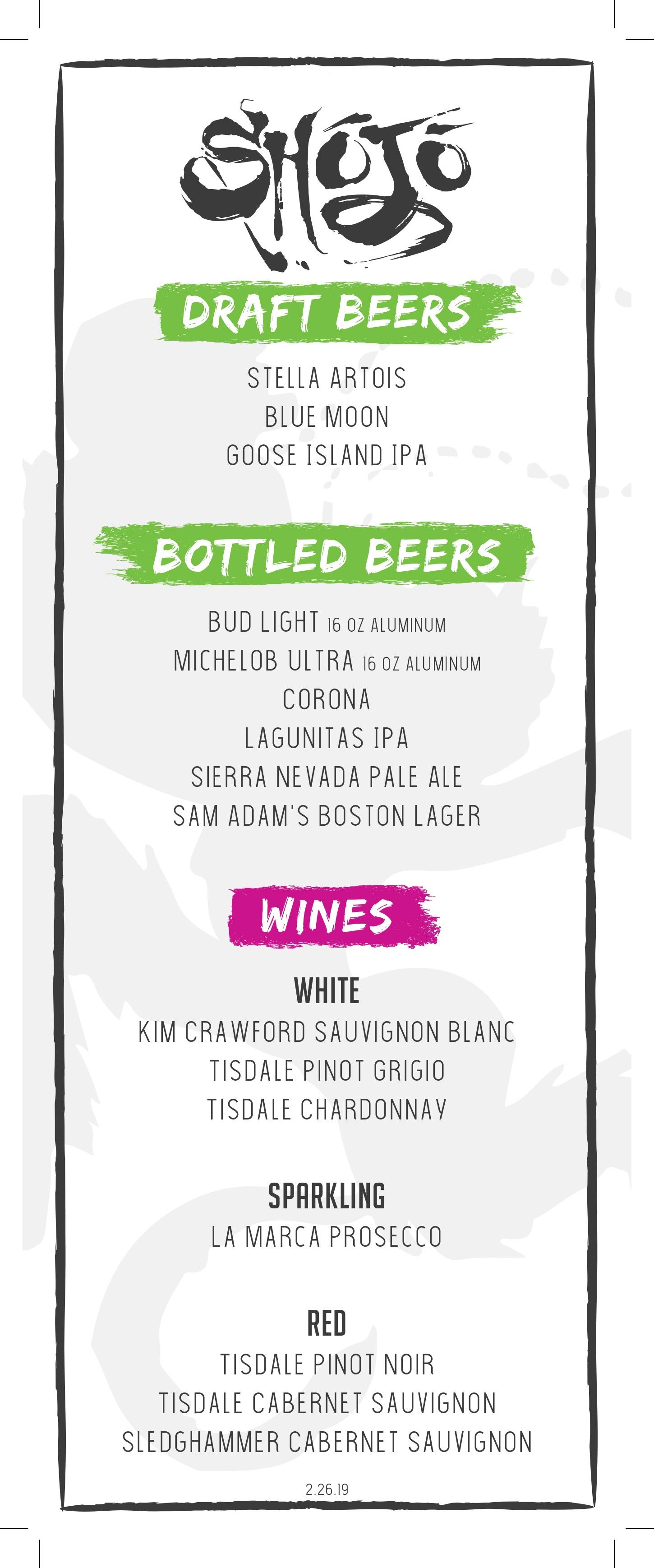 Shojo Logan beer and wine menu
