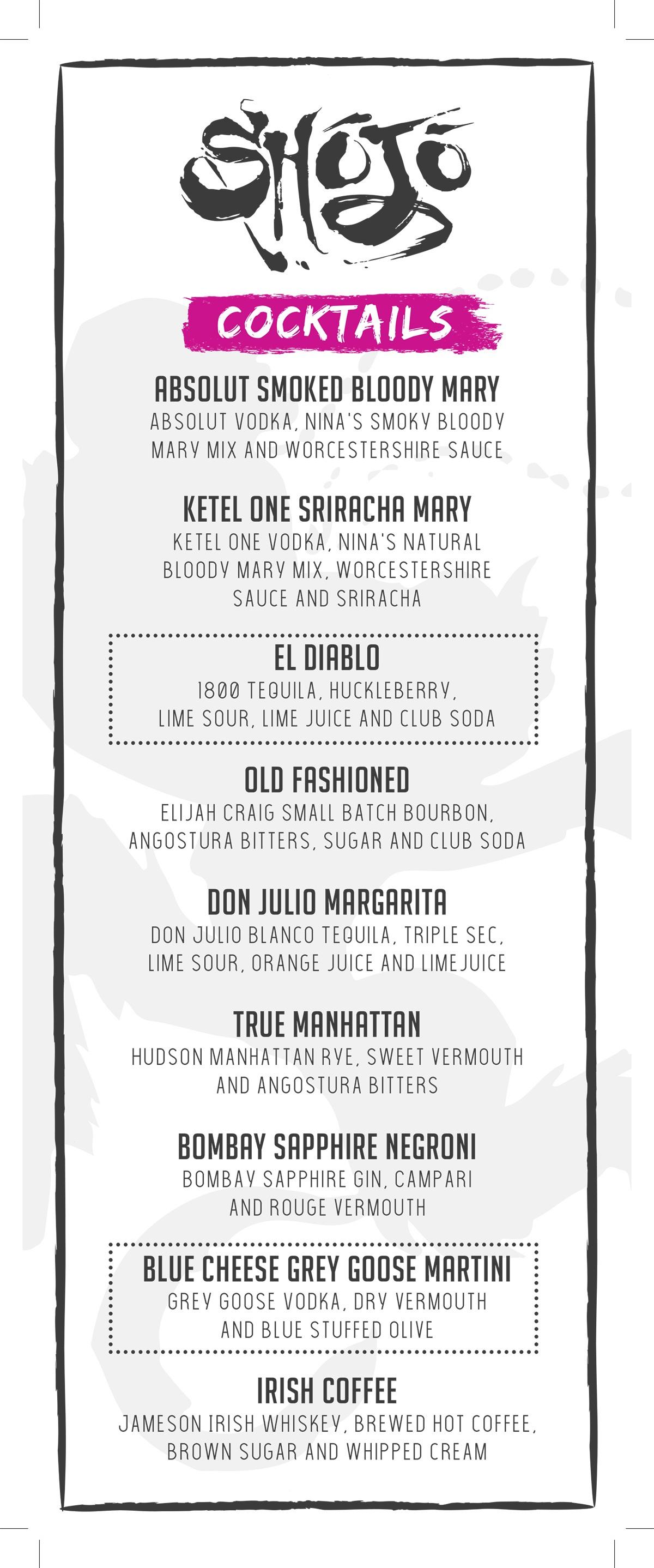 Shojo Logan cocktail menu