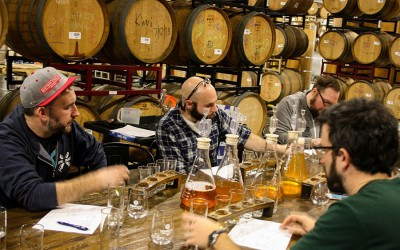 Beat Brew Hall beer enthusiast Casey Furtaw, Springdale Barrel Room production director Greg Remillard, and general manager Joe Connolly taste base blends for the special-release Casey's Beet Beer Beta Blend