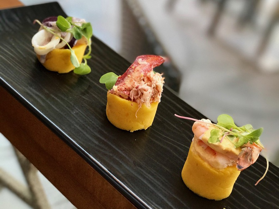 Trio of Causitas: Yellow Peruvian potato, squid with Botija olives, lobster and shrimp