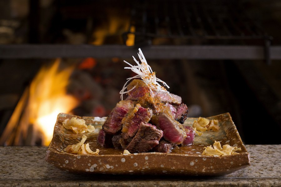 Ribeye steak from the robata grill during lunch service at Zuma Japanese in Boston