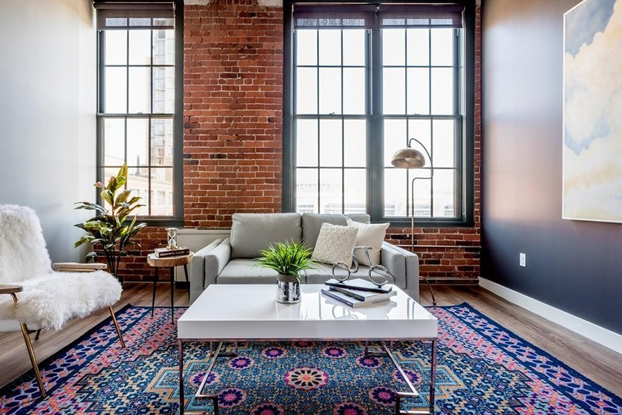 seaport loft living room
