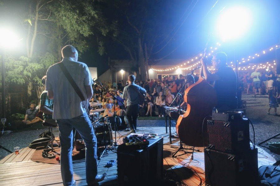 Dietrich Strause performs at the Aeronaut Allston beer garden in 2018