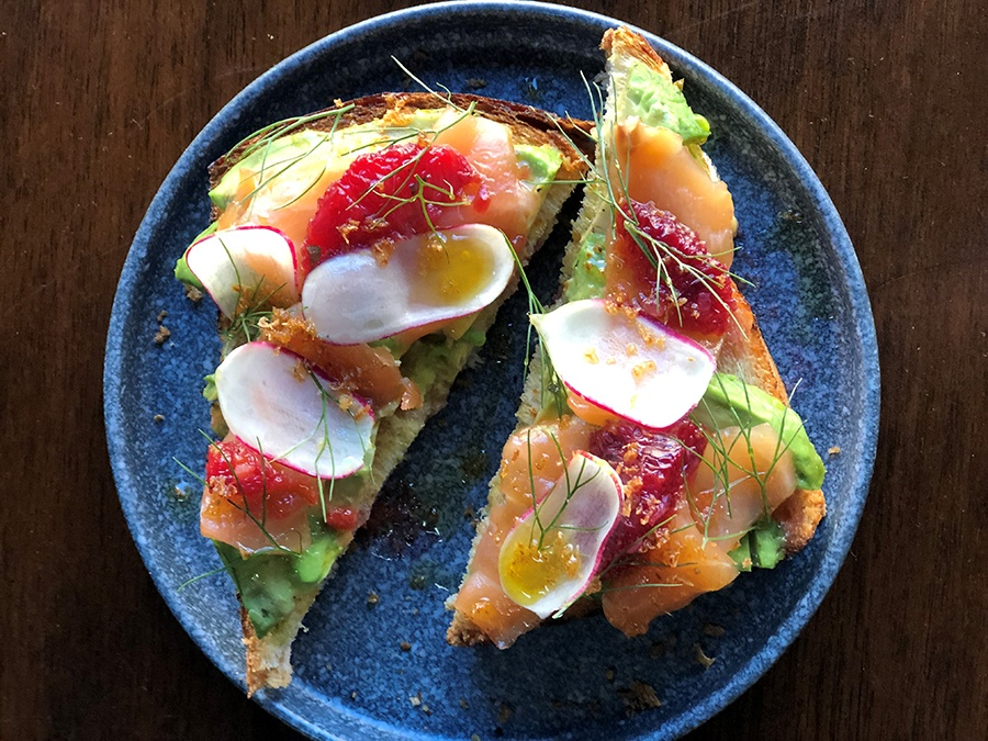 Avocado toast with cured salmon, blood orange, and radish, from the forthcoming Café Beatrice in Allston