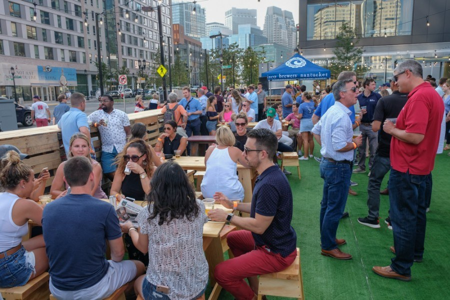 the Cisco beer garden in the Boston Seaport