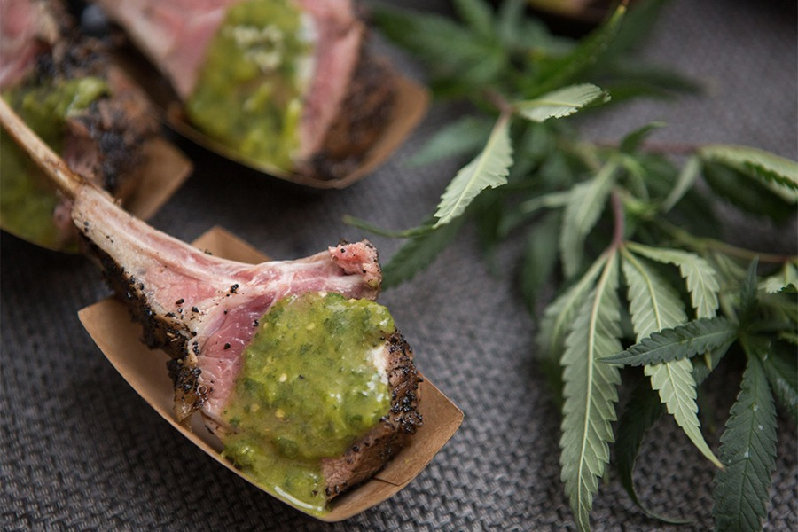 lamb dish with green sauce from Dinner at Mary's pop-up in Boston