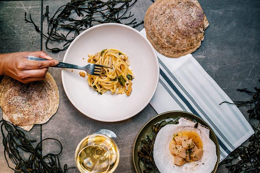 Spaghetti and scallops at La Pescheria - Fishmonger's Kitchen at Eataly Boston