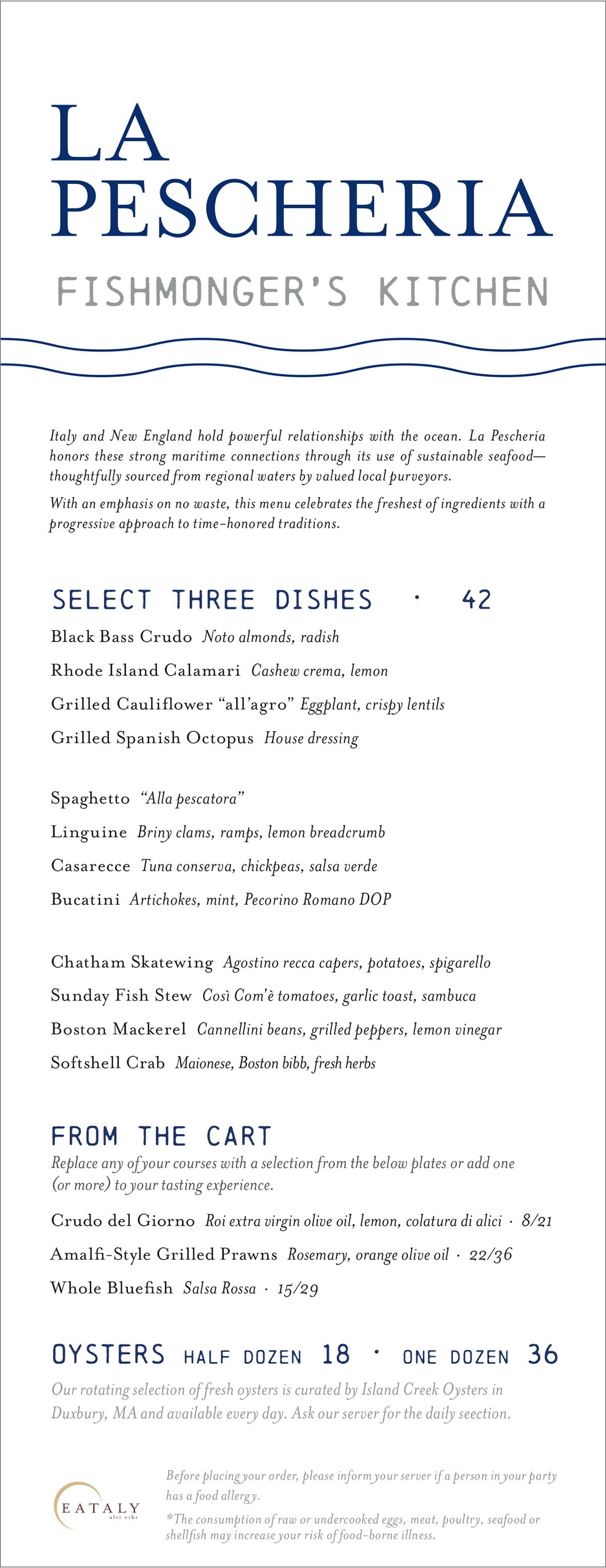 La Pescheria dinner menu at Eataly Boston