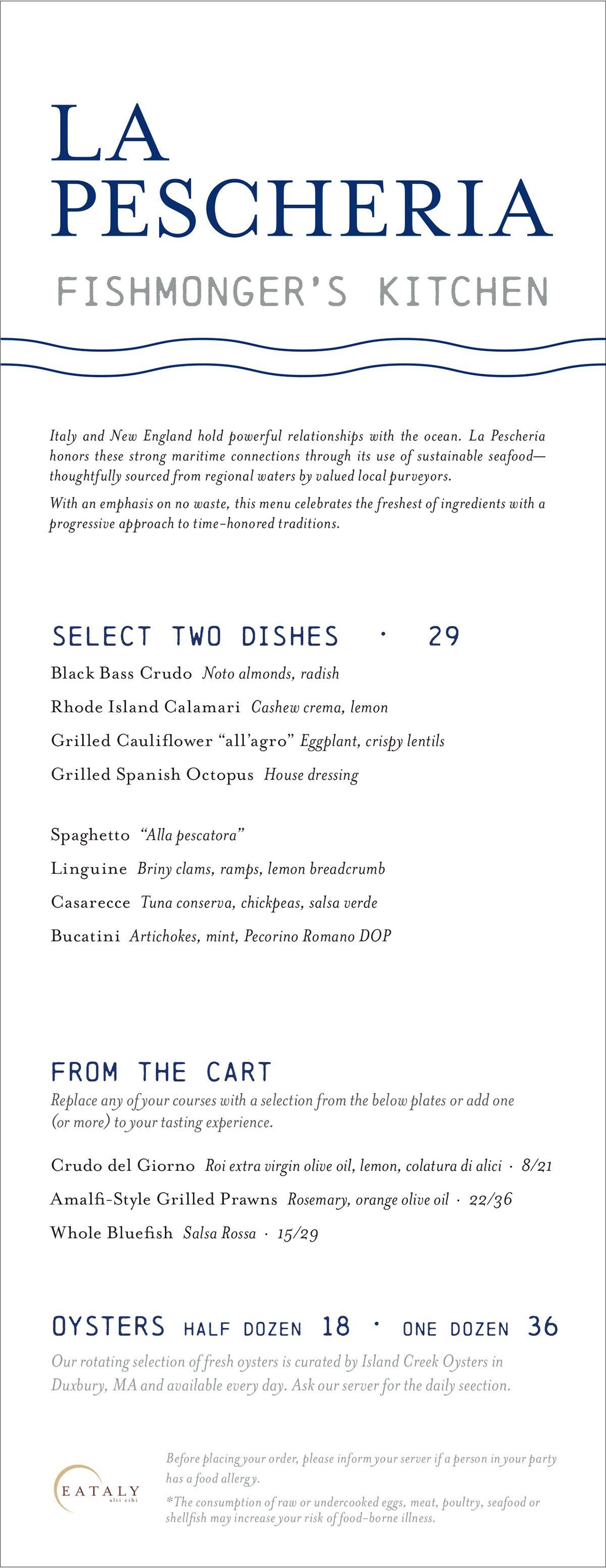 La Pescheria lunch menu at Eataly Boston
