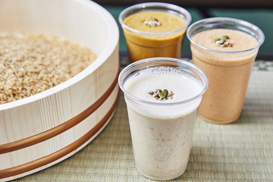 Hearty smoothies are made with brown rice and oats at Red White Japanese Vegan