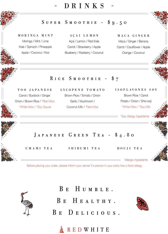 Red White Japanese Vegan drinks menu