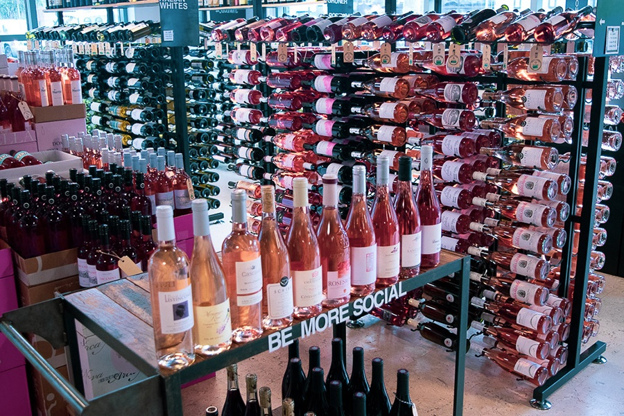 Racks of rose at Social Wines in South Boston