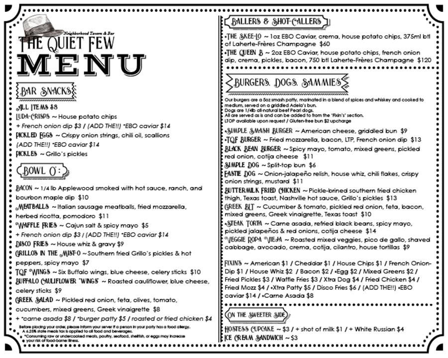 The Quiet Few East Boston menu
